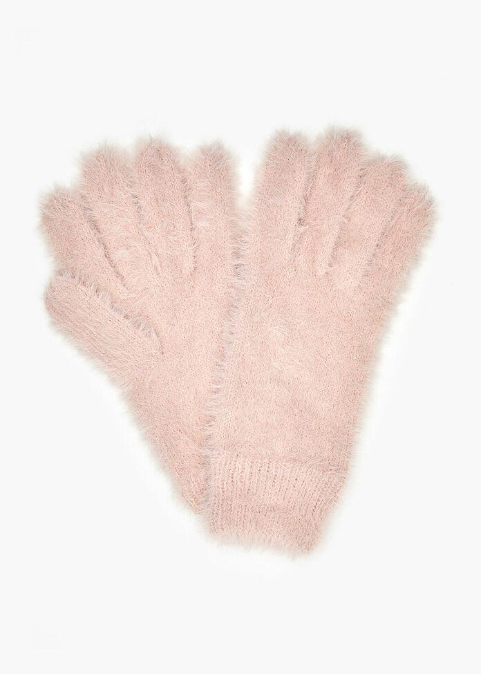 Blush Fuzzy Gloves, , hi-res