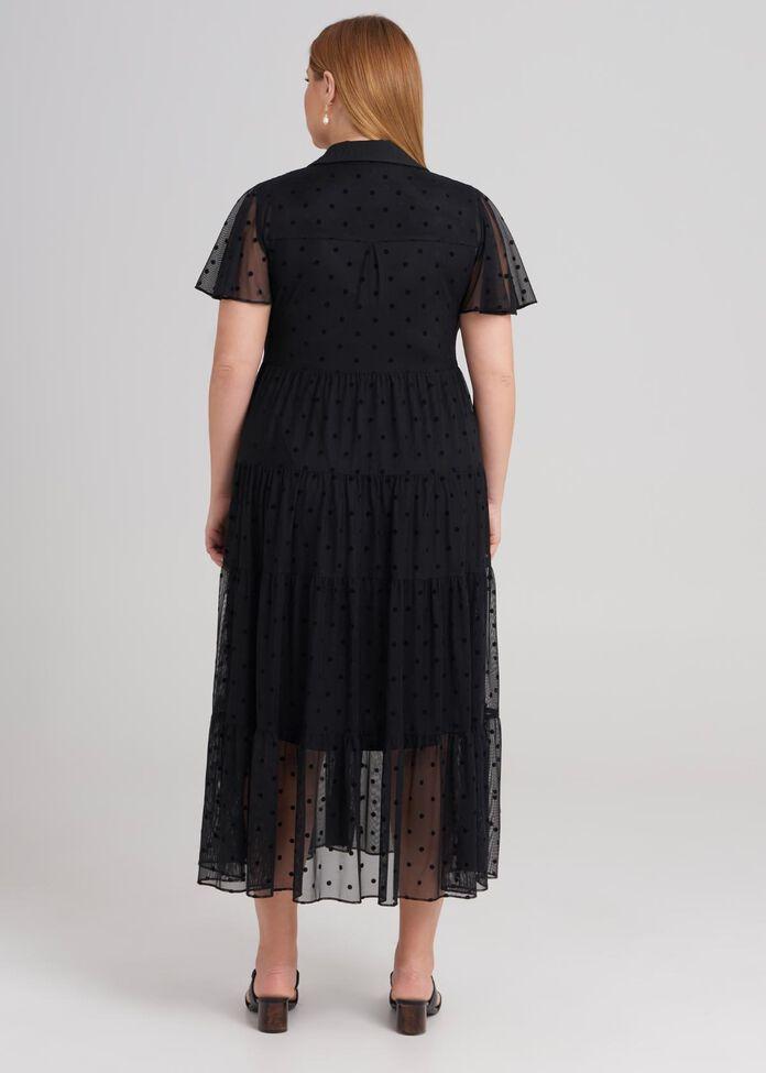 Short Sleeve Spot Mesh Dress, , hi-res
