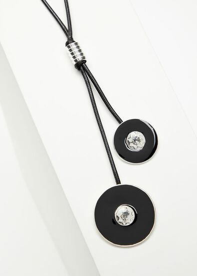 Black Enamel Disc Necklace