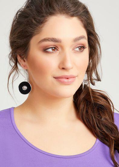 Black Enamel Disc Earrings