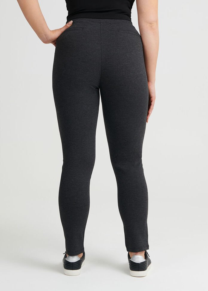 Zip Detail Ponti Legging, , hi-res