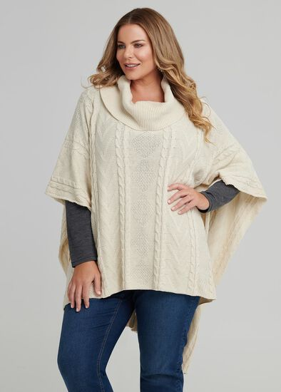 Cable Knit Cowl Neck Poncho