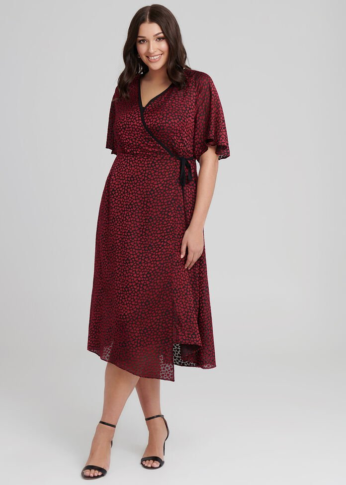 Women In Love Wrap Dress, , hi-res
