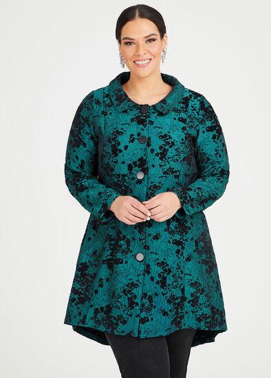 Emerald Jacquard Dress Coat