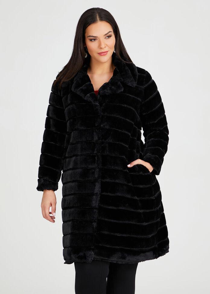 Noir Faux Fur Coat, , hi-res