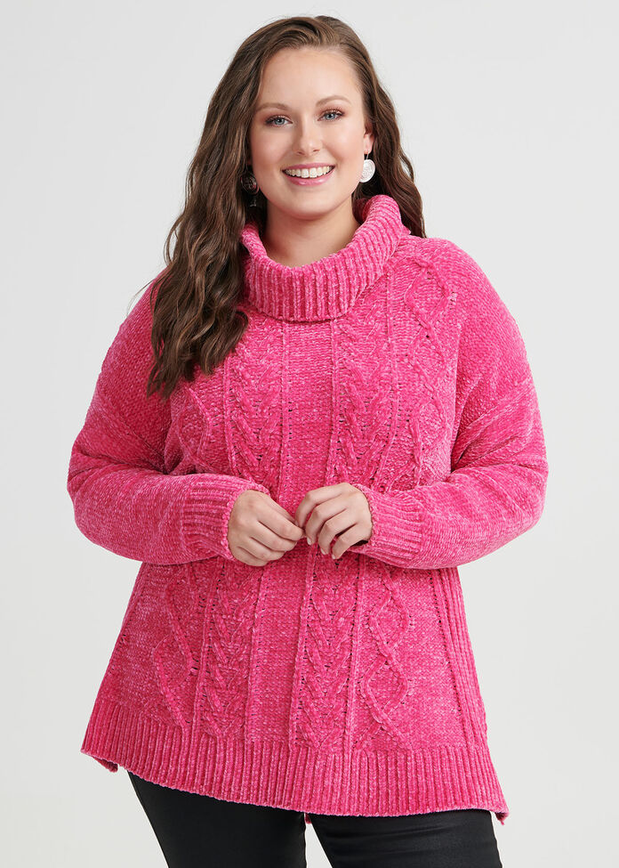 Cable Turtle Neck Jumper, , hi-res