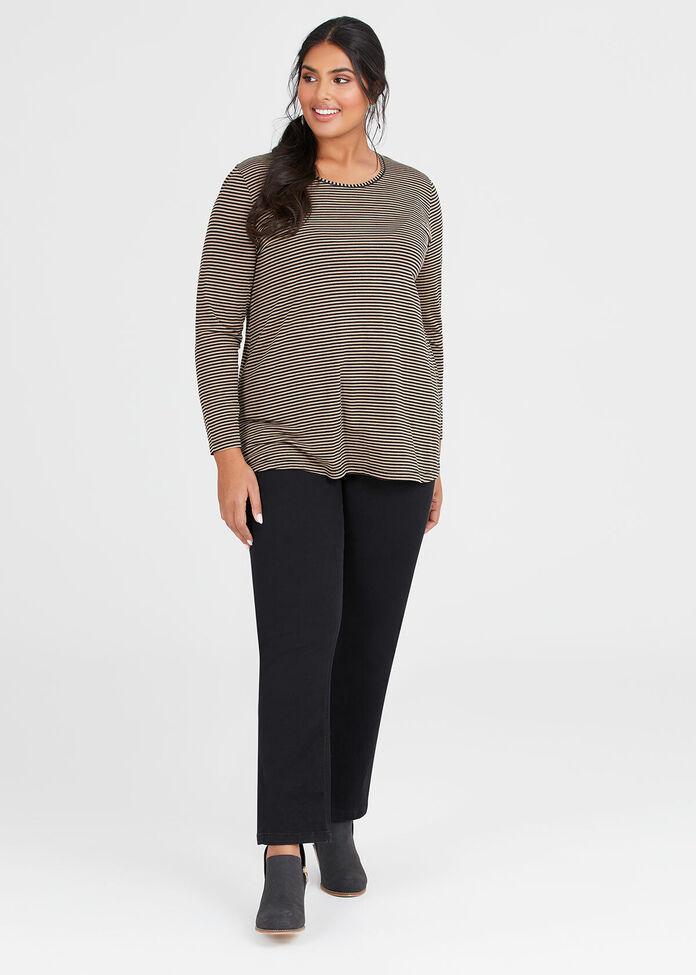 Wool Bamboo Stripe Top, , hi-res