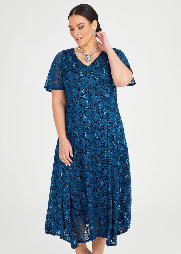 Sequin Lace Formal Dress, , hi-res