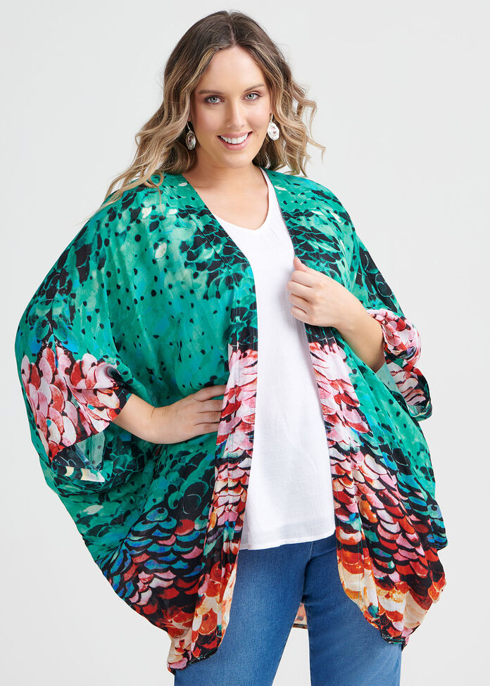 Sequin Print Shrug, , hi-res