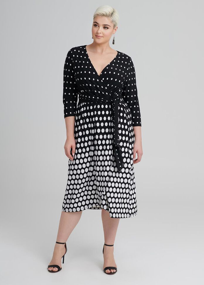 Mock Wrap Spot Dress, , hi-res