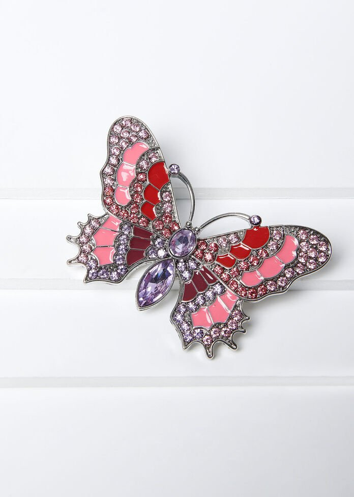 Blushing Butterfly Brooch, , hi-res