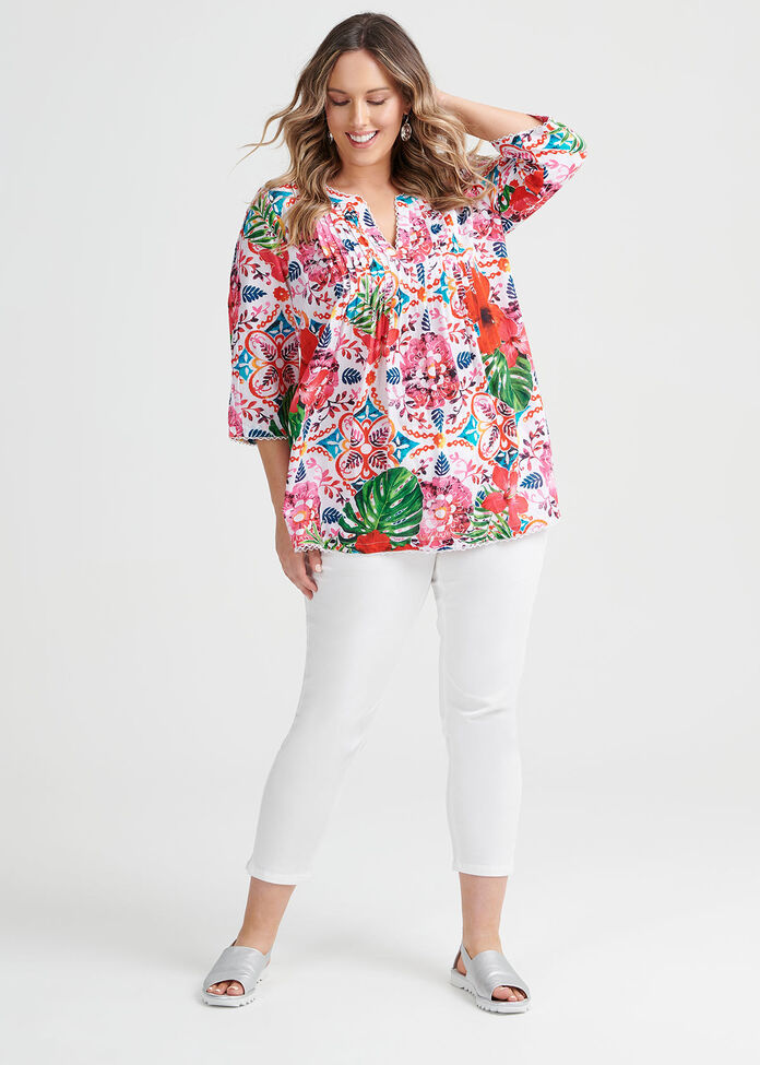 Cotton Boho Top, , hi-res