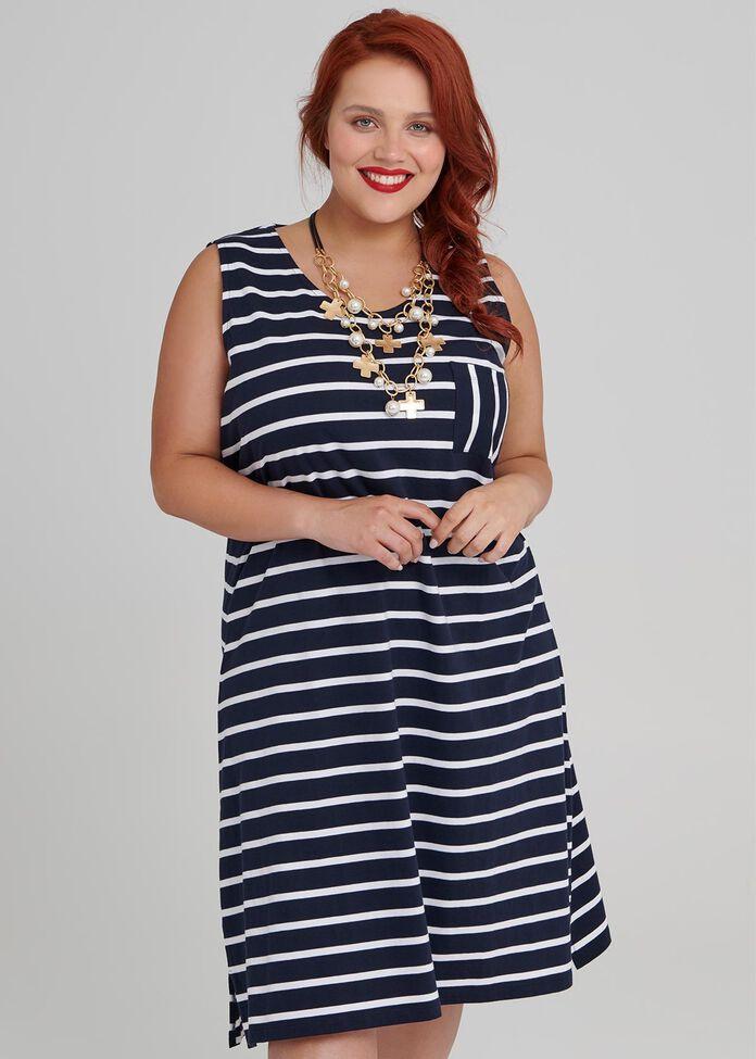 Smart Stripes Dress, , hi-res