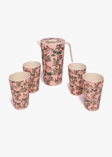Bamboo Jug & 4 Tumblers