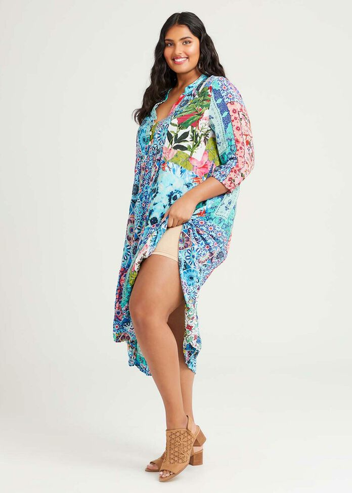 Natural Mosaic Tier Dress, , hi-res