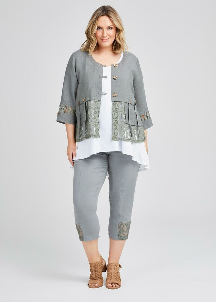 Kiki Linen & Lace Jacket, , hi-res