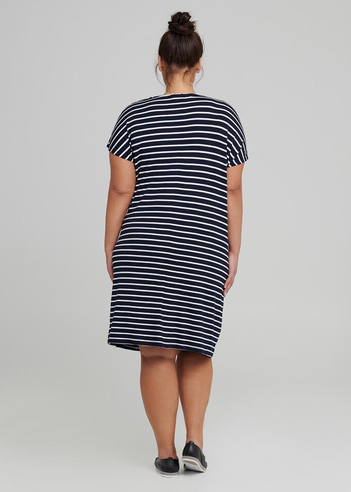 Drapy Stripe Shift Dress, , hi-res