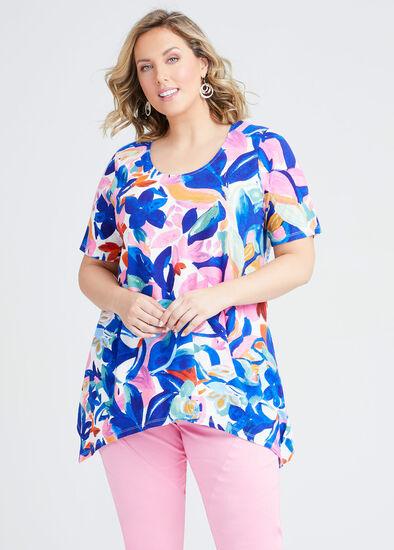 Linen Blend Floral Print Top