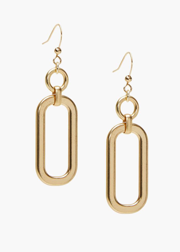 Gold Link Earrings, , hi-res