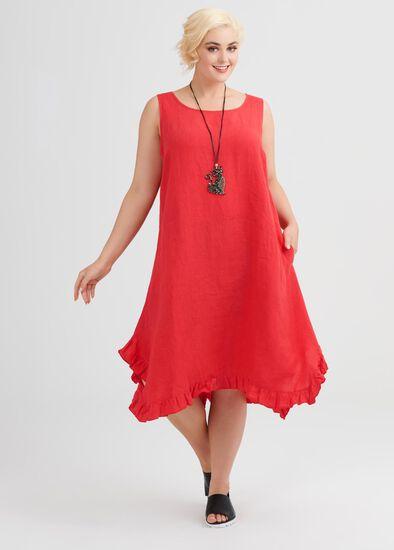 Linen Escape Gathered Hem Dress