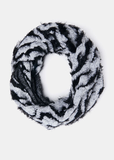 Zebra Fuzzy Knit Snood