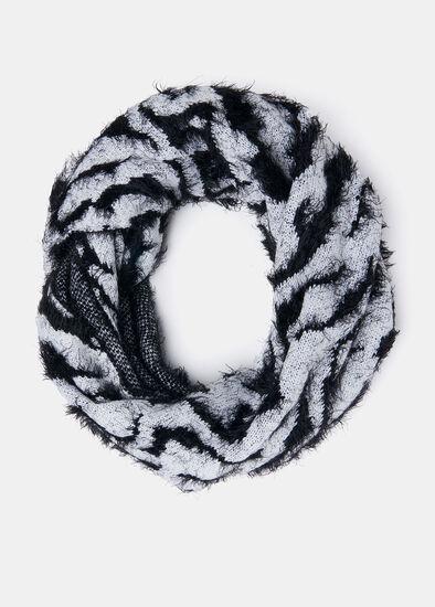 Zebra Fuzzy Knit Snood