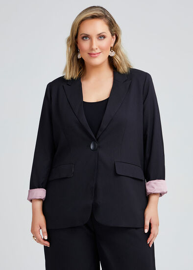 Noir One Button Lined Jacket