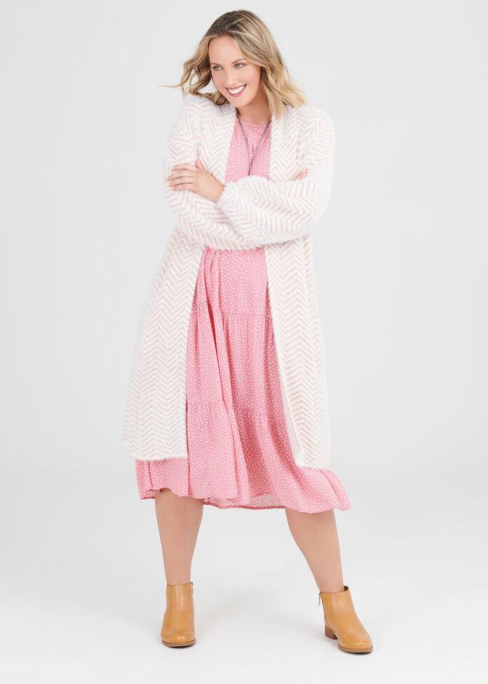 Natural Tiered Spot Dress, , hi-res