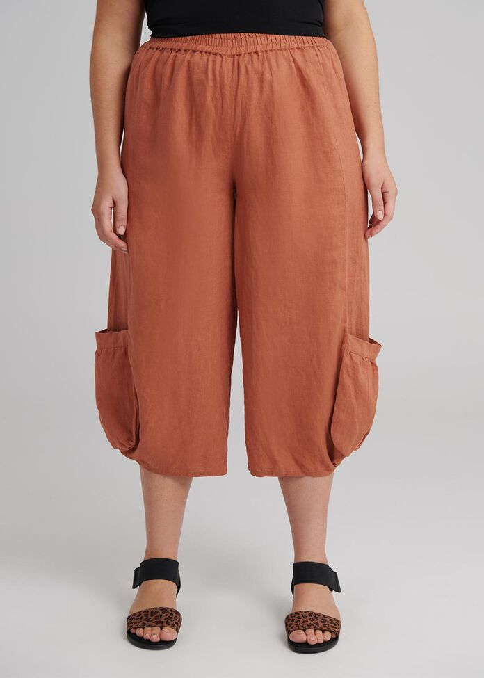 The Easy Linen Crop Pant, , hi-res