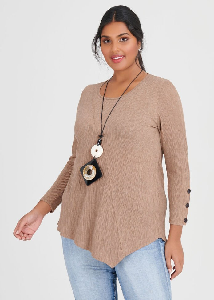 Pleated Knit Top, , hi-res