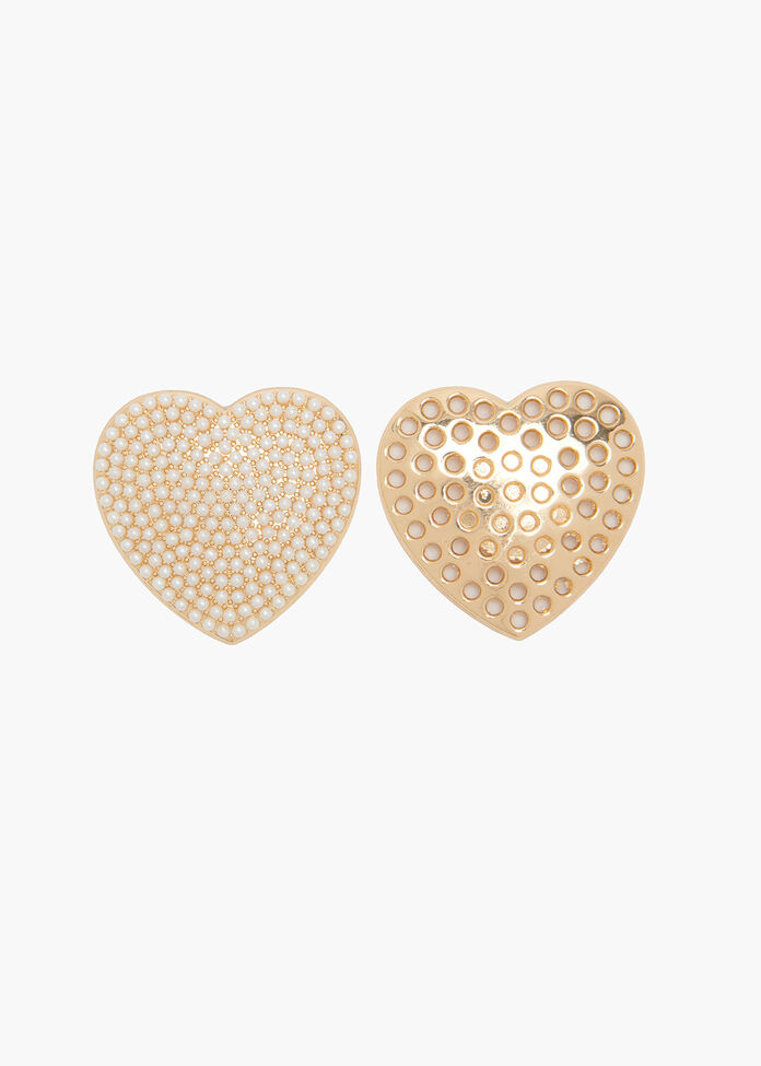 Pearly Heart Brooch, , hi-res