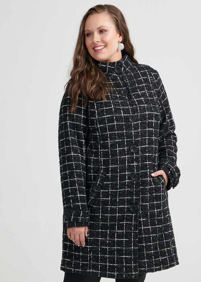 Checked Boucle Jacket, , hi-res