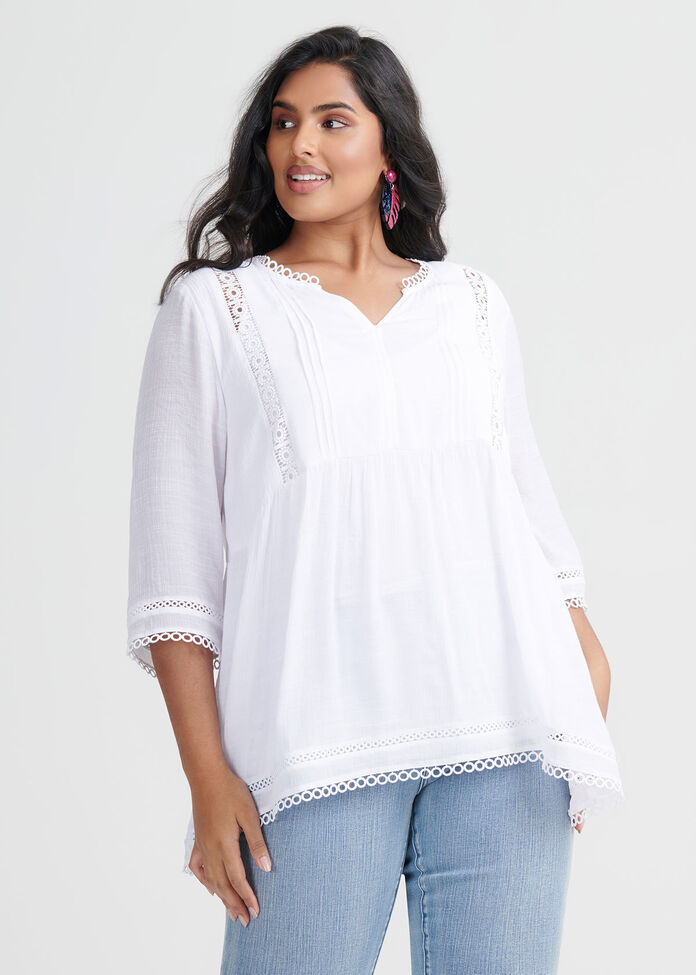 Amelie Lace Trim Top, , hi-res