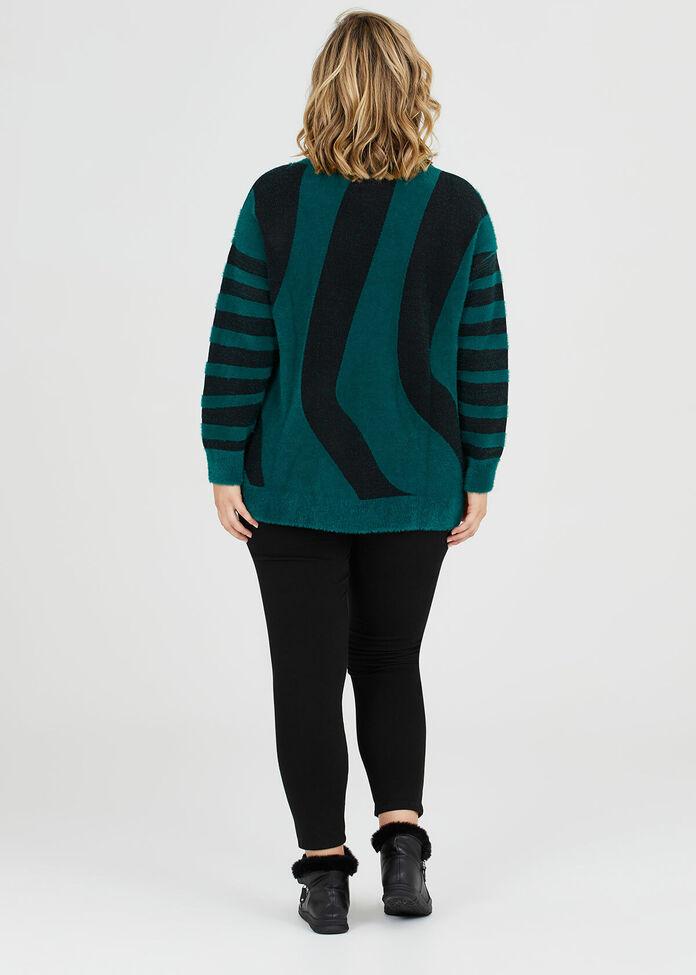 Bold Stripe Fluffy Jumper, , hi-res