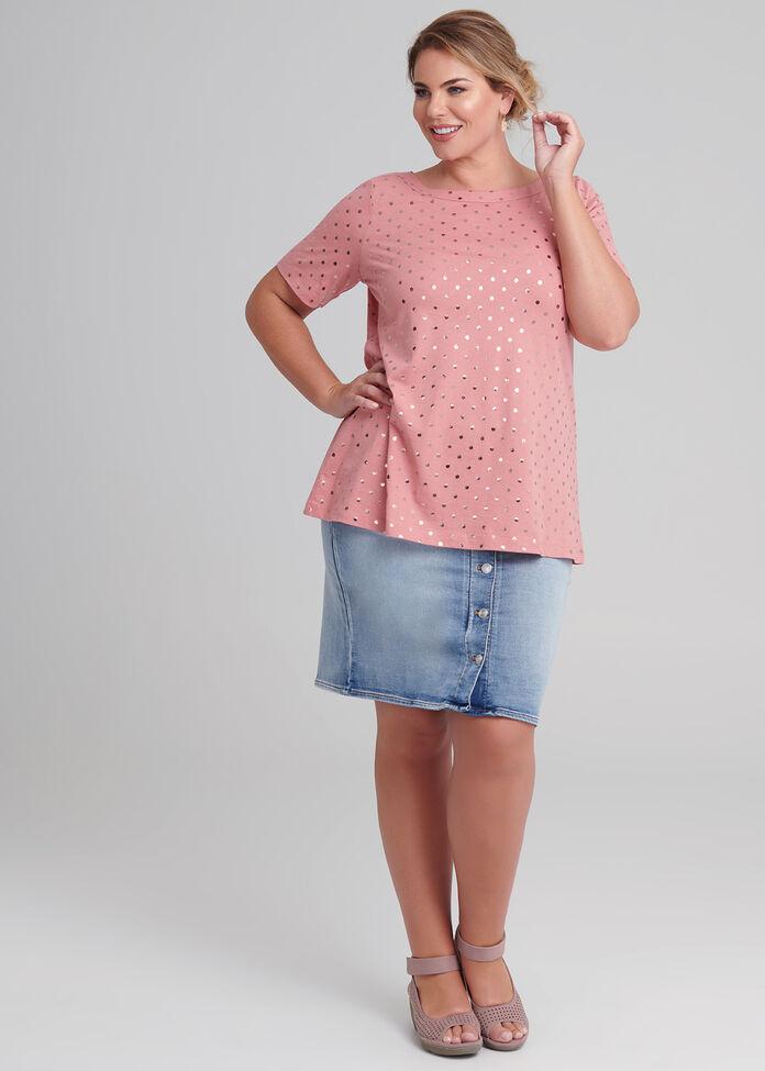 Button Denim Skirt, , hi-res