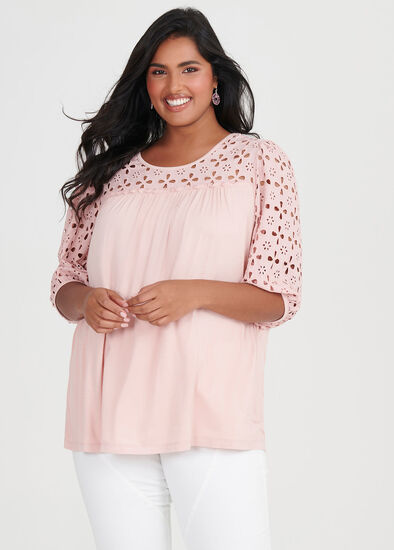 Bamboo Broderie Trim Top