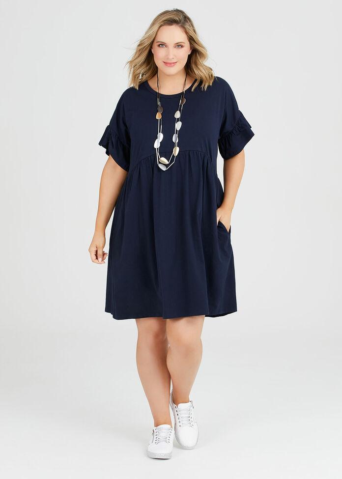 Organic Frill Sleeve Dress, , hi-res