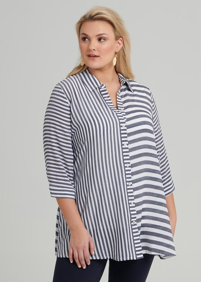 Stripe Mix Shirt, , hi-res