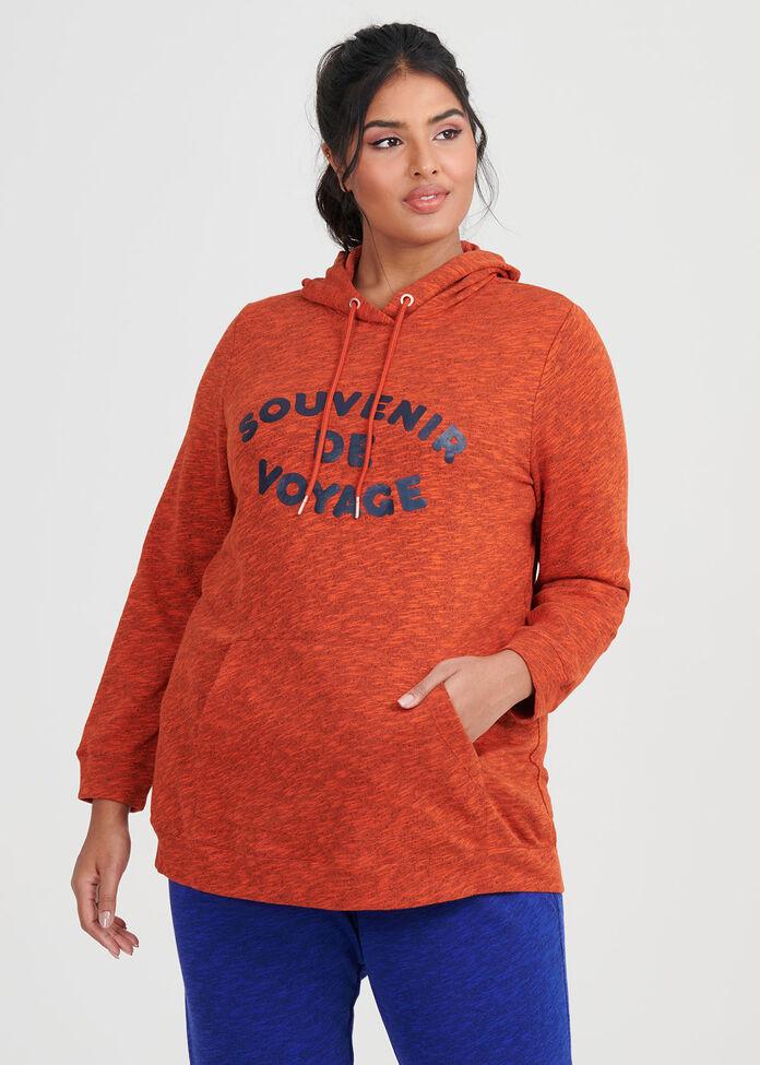 Burnt Orange Melange Hoodie, , hi-res