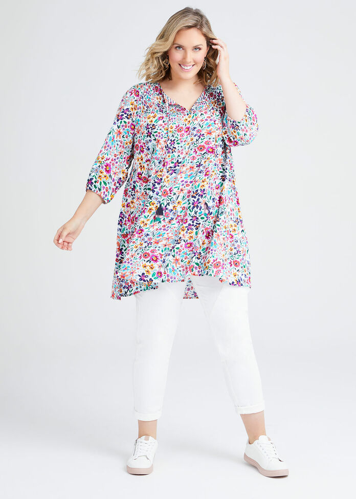 Natural Floral Tiered Tunic, , hi-res