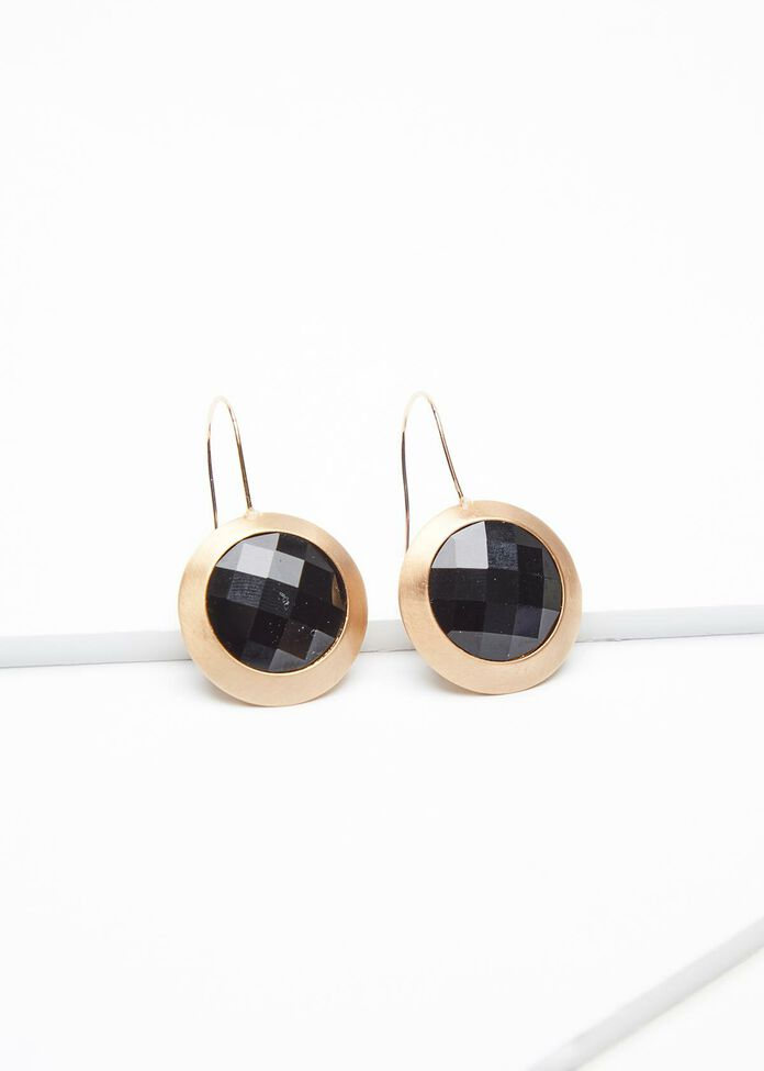 Gold Faceted Earrings, , hi-res