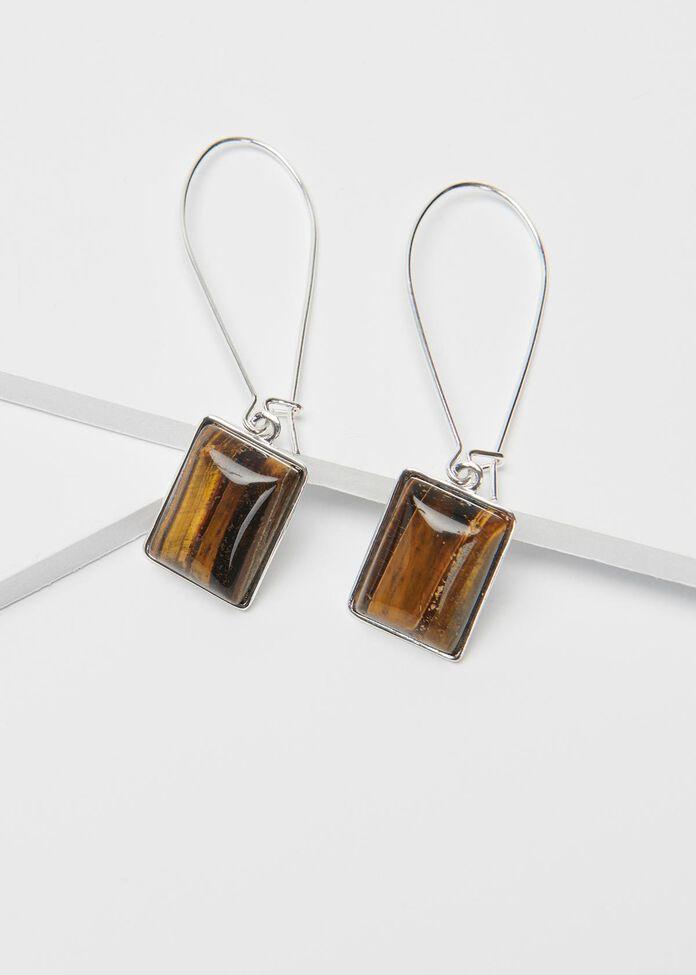 Stone Baguette Earrings, , hi-res