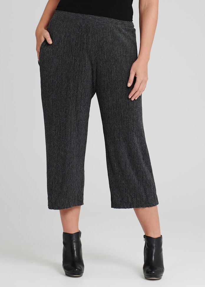Pleated Knit Crop Pant, , hi-res