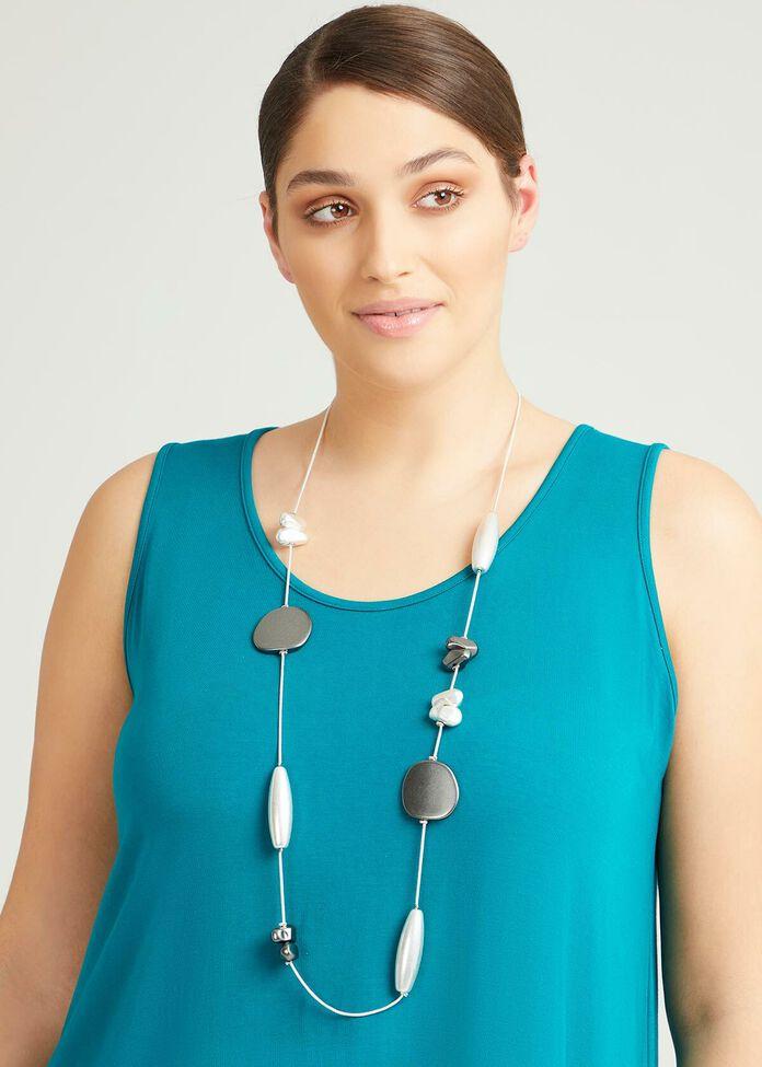 Long Line Silver Necklace, , hi-res