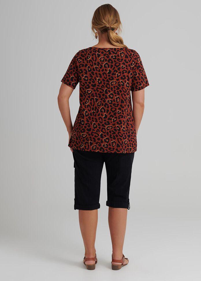 Foil Leopard Top, , hi-res