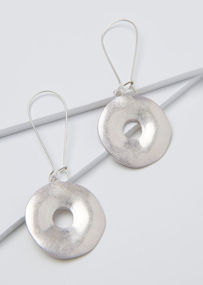 Silver Disc Earrings, , hi-res