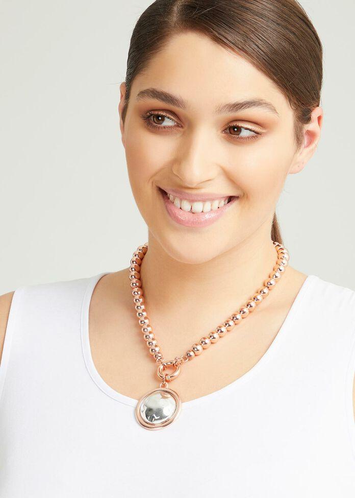 Short Rose Gold Pendant Necklace, , hi-res