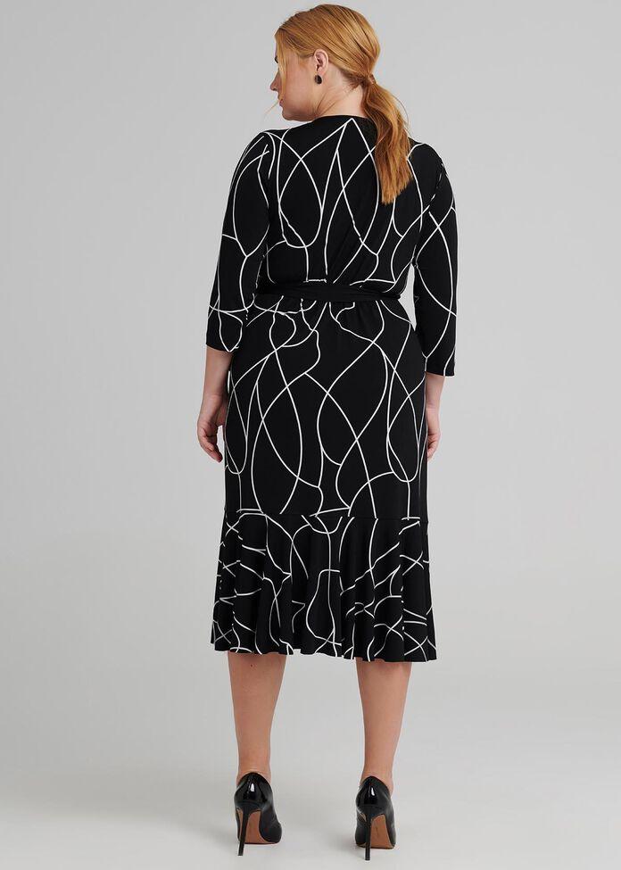 Reverse Scribe Wrap Dress, , hi-res