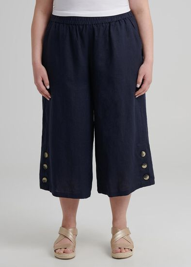 Petite Linen Crop Pant