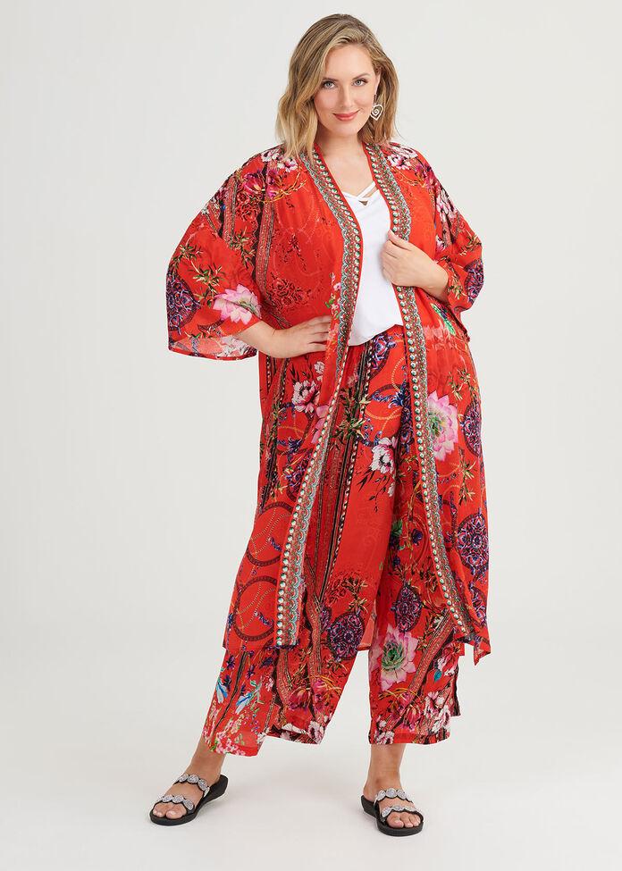 Rosy Outlook Natural Kimono, , hi-res